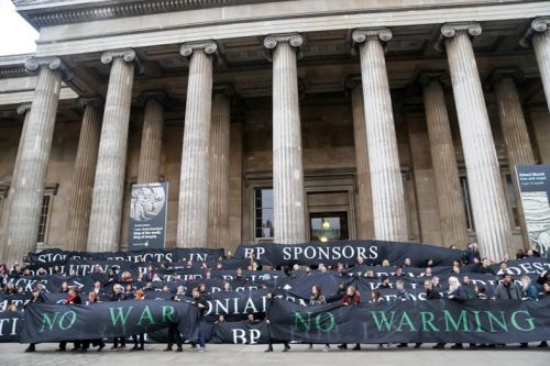 Activists protest at the British Museum against its ties to BP
