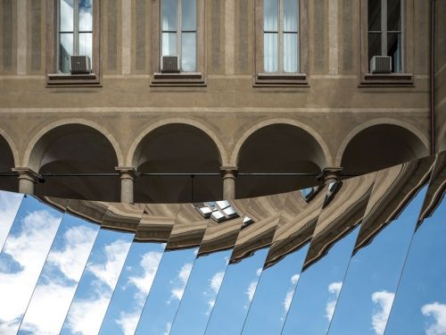 A Surreal Mirrored Installation Reflecting the Milanese Sky