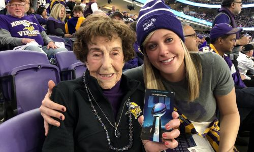 A Minnesota Vikings Superfan Is Surprised With Super Bowl Tickets Ahead of Her 100th Birthday!