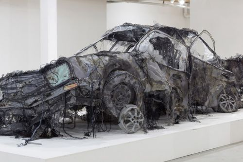 Artist Uses Ghost-Like Textiles to Create Replica of Demolished Car