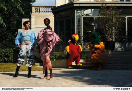 The Y/Project campaign stars a parrot, pineapple, & those thigh-high Uggs