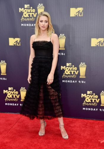 Lili Reinhart Just Perfected the Sheer Red Carpet Dress at the MTV Awards