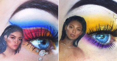 15-year-old makeup artist incorporates tiny celebrities into her eye makeup