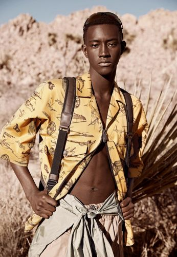 Oumar Diouf Hikes into Desert for Elle Men China