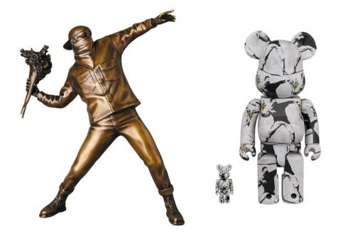 Banksy's Iconic 'Flower Bomber' Memorialized With $5,500 USD Bronze Statue and BE RBRICKs