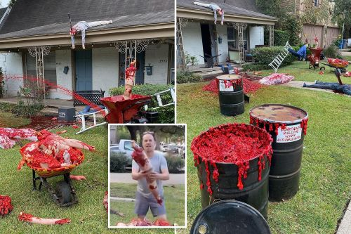 Man who had cops called over bloody Halloween displays won't back down