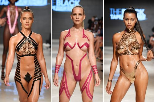 Duct-tape bikinis look sexy but painful