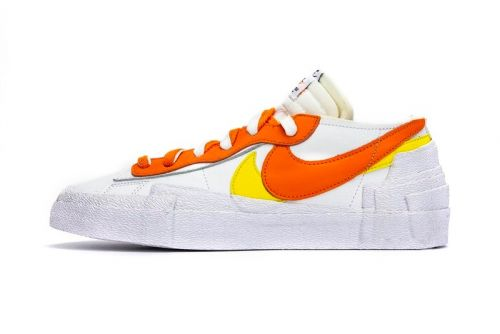 "Take a Detailed Look at the sacai x Nike Blazer Low ""Magma Orange"" and ""Classic Green"""
