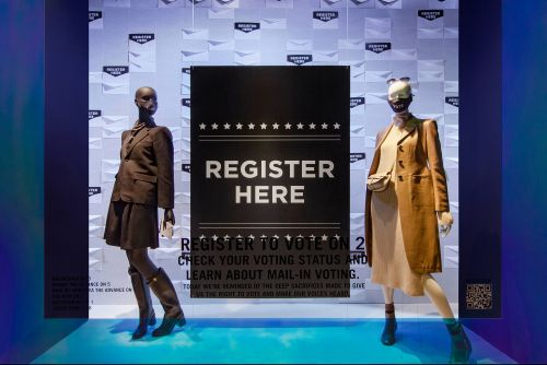You can register to vote at Saks