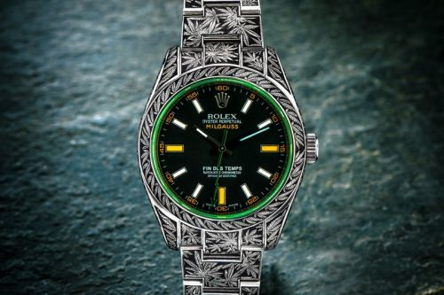 "Rolex Oyster Perpetual Milgauss ""Cannabis"" by Third Eye Assembly"