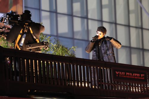 Bad Bunny performs surprise concert on top of truck driving through NYC