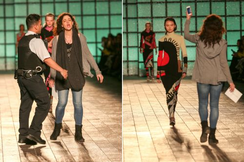Protester freaks out about fake fur at Fashion Week