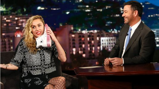 Miley Cyrus Videotaped Herself Getting In Bed With Jimmy Kimmel and His Wife Approved