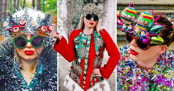 Christmas fanatic creates ridiculously chic upcycled festive outfits