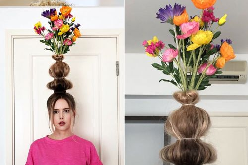 People are turning their hair into flower vases for Instagram