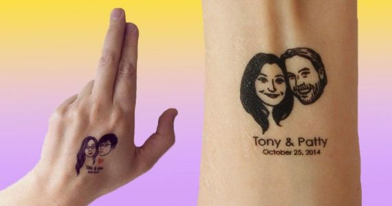 We can't decide if these temporary tattoo wedding favours are cute or gross