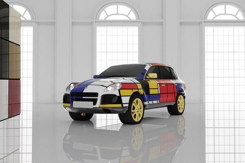 Photos of Luxury Cars Wrapped in Piet Mondrian's Iconic Abstract Art