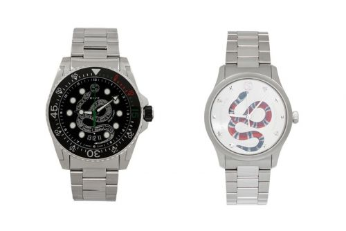 Gucci Releases Stainless Steel Silver-Tone Snake Watches