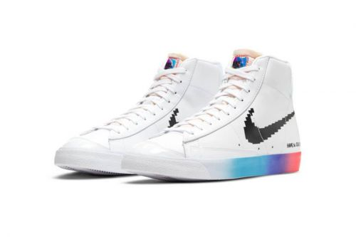 "Nike Blazer Mid '77 ""Good Game"" Offers 8-Bit Swooshes, Iridescent Tags, and a Rainbow Sole"