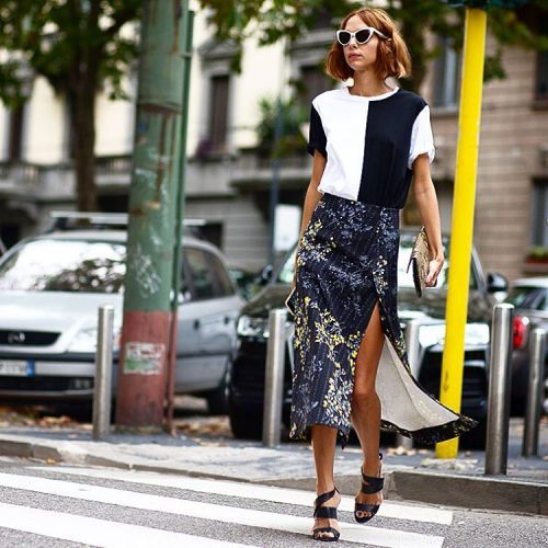 Marni's floral print midi skirt is a standout hit at MFW. Shop