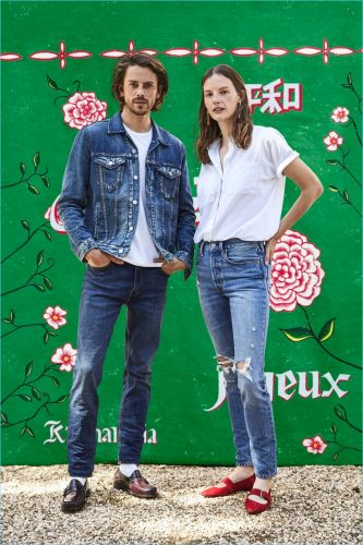 Jeremy Young & Wife Sara Blomqvist Front Levi's Holiday '17 Outing