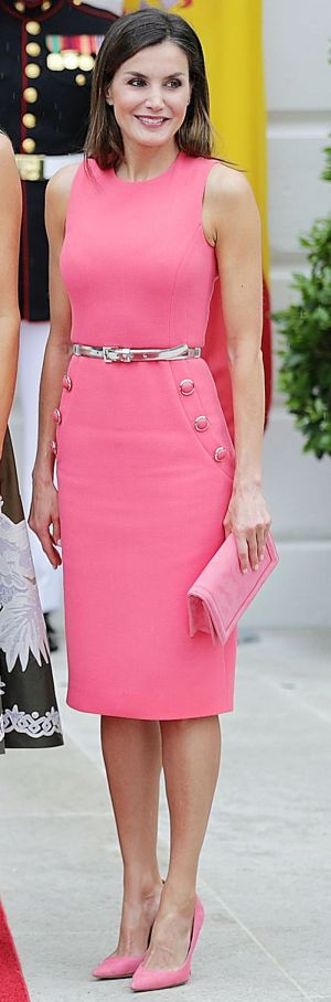 Queen Letizia Just Wore Head-to-Toe Barbie Pink at the White House