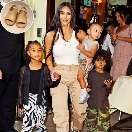 North, Saint, Chicago and Psalm West Bond Over Yeezy Sandals and It's Seriously So Adorable
