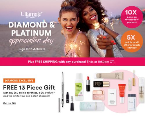 Ulta Diamond & Platinum Appreciation Day: 10X Points / 5X Points Everything Else