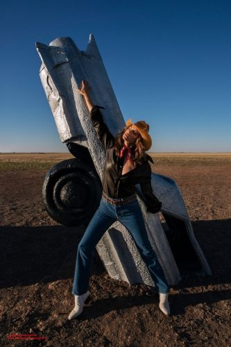 Cindy Crawford heads to the Cadillac Ranch in Acne's new campaign